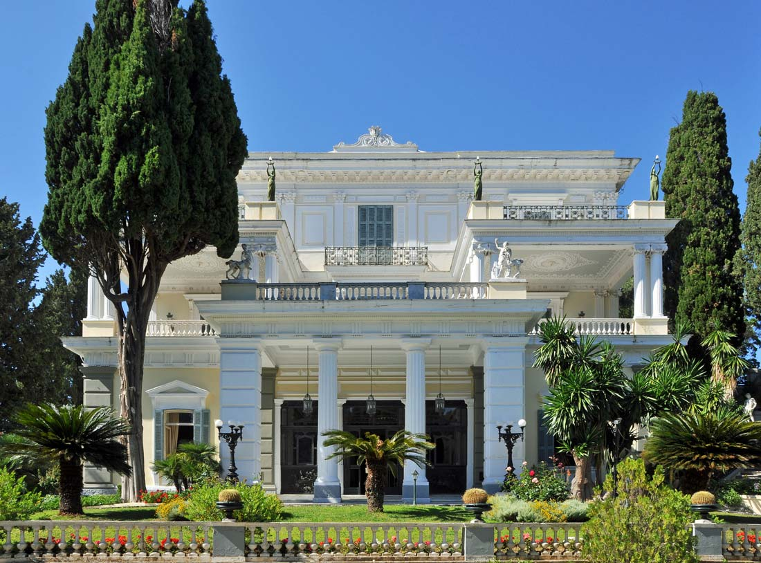 achilleion-palace-Achilles-Sissi-princess-Austria-Greece-Corfu-Gastouri-village-monuments-museum-statues-garden-palm-trees-tourism-history-resort