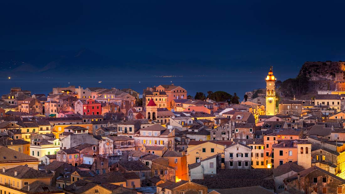 corfu-town-old-town-city-old-fortress-St.-Spiridon-churches-narrow-streets-Ionian-Sea-port-harbour-picturesque-buildings-monuments-sightseeing-UNESCO-night-sky-stars-seaview