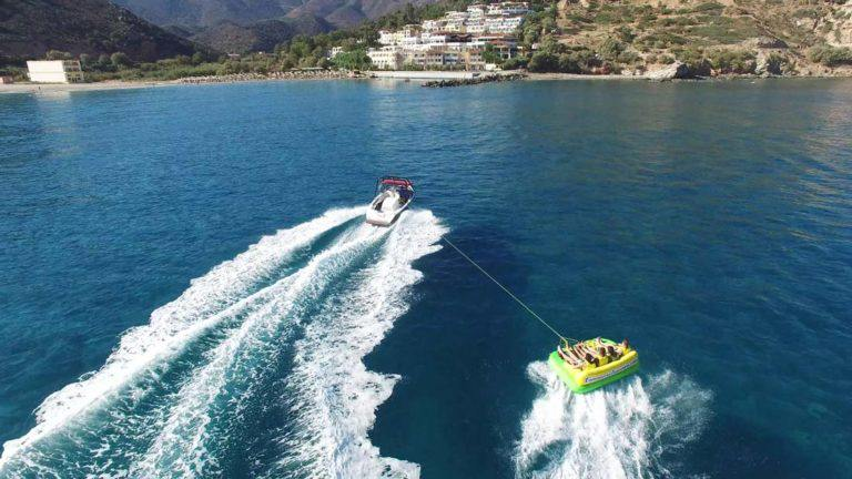 Towing-Boat-Yacht-Waves-Sea-Corfu-Beach-Coast-Sun-Summer-Watersports-Sports-Landscape-Adrenaline-Dassia-dassia-ski-club-family-friends-vacation-holidays-excursion-water-inflatables